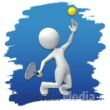 ID# 3687 - Stick Figure Tennis Icon - Presentation Clipart