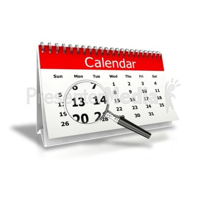 Magnify Desk Calendar Month View Presentation clipart