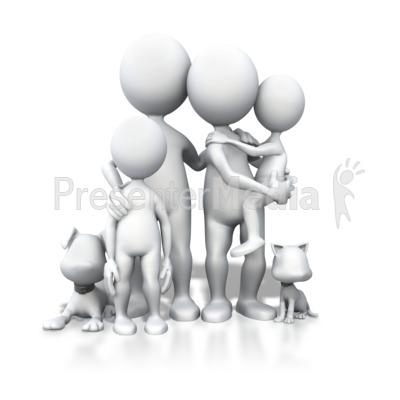Stick Figure Family Pets Portrait Presentation clipart