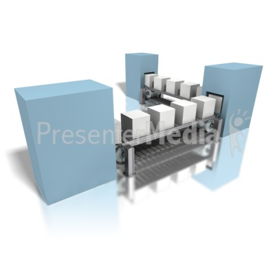Conveyor Gray Boxes Assembly Line Presentation clipart