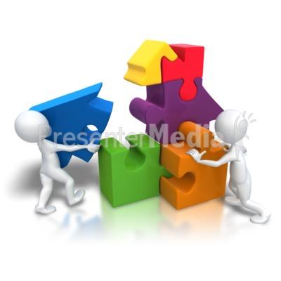 Puzzle Pieces House Teamwork Presentation clipart