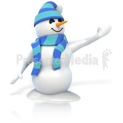 Winter Snowman Presenting Presentation clipart
