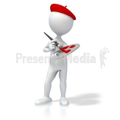 Artist with Paint Brush and Palette Presentation clipart