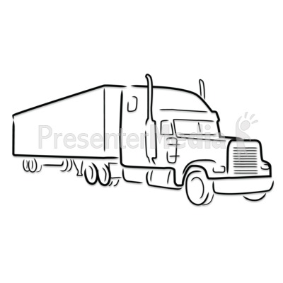 Semi Truck Outline Drawing Presentation clipart