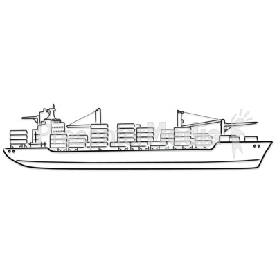 Freight Ship Outline Drawing Presentation clipart