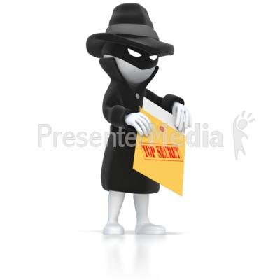 Spy Opening Top Secret Envelope  Presentation clipart