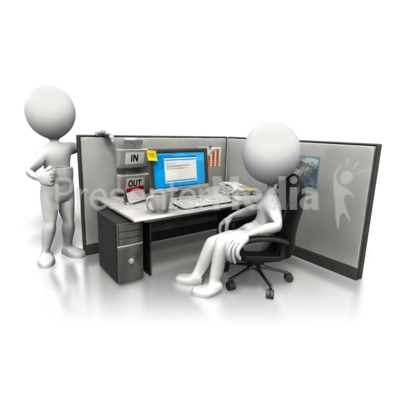 Cubicle morning chat presentation clipart