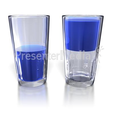 glass half full. Glass Half Full and Half Empty