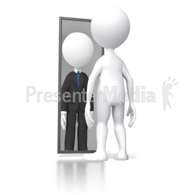 Looking In Mirror Successful Presentation clipart