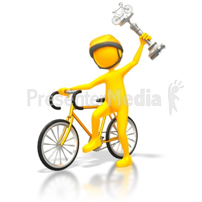 Cyclist Racer Wins Silver Trophy Presentation clipart