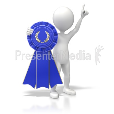 Figure With Blue Ribbon Presentation clipart