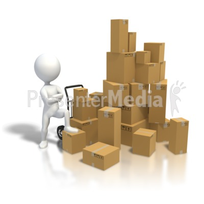 Standing By Pile Boxes Presentation clipart