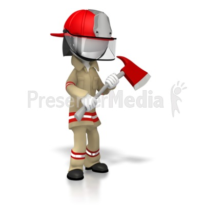 Suited Firefighter With Axe Presentation clipart