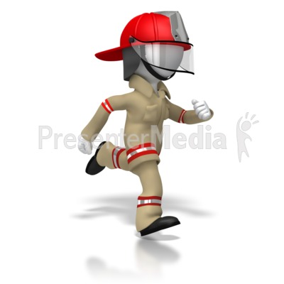 Firefighter Running Presentation clipart
