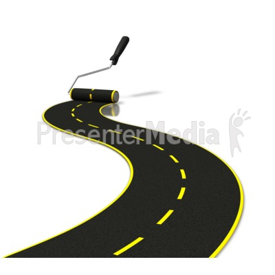Painting Road With Roller Presentation clipart