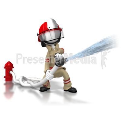 Firefighter Spraying Hose Presentation clipart