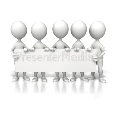 Group Holding Long Sign Presentation clipart