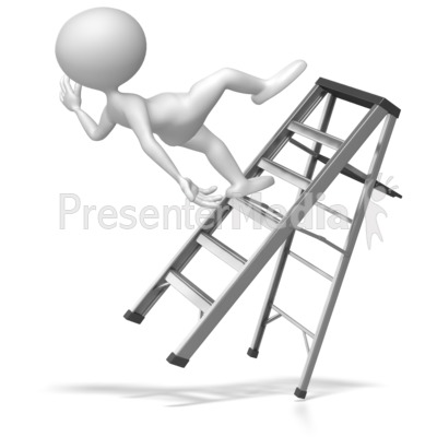 Stick Figure Falling Off Ladder Presentation clipart