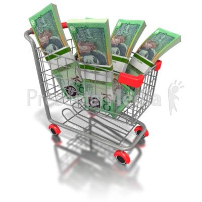 Shopping Cart with Australian Money Presentation clipart