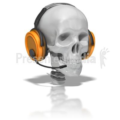 Skull Wearing Headset Presentation clipart