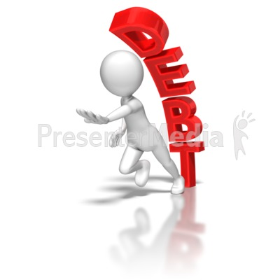 Stick Figure Running From Debt Presentation clipart