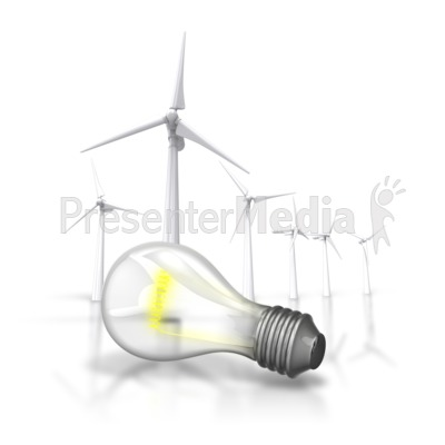 Energy Light Bulb Wind Turbine Presentation clipart