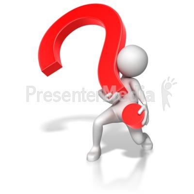 Stick Figure Lifting Heavy Question Mark Presentation clipart