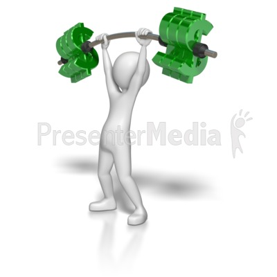 Stick Figure Lifting Dollar Weights Presentation clipart