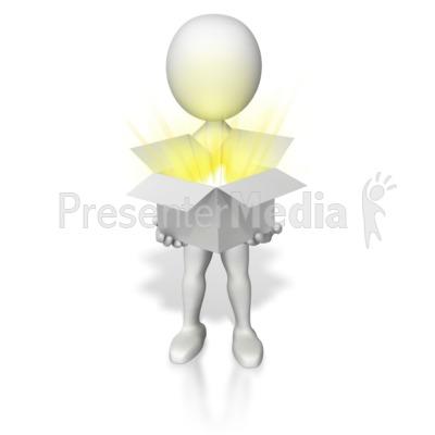Holding Open Box Of Light Presentation clipart