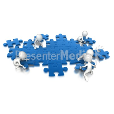 Puzzle People Working Together Presentation clipart