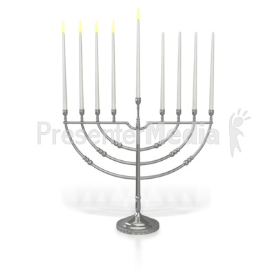 Menorah Fourth Candles Lit Presentation clipart