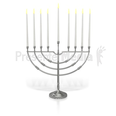 Menorah Eighth Candle Lit Presentation clipart
