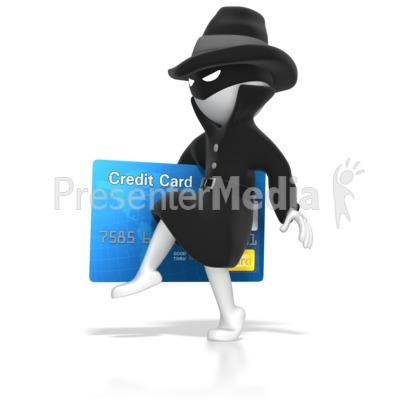 Thief Stealing Credit Card Presentation clipart