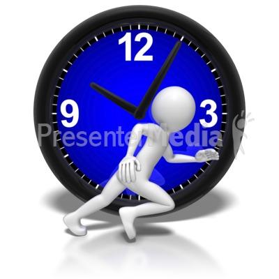 Stick Figure Run Clock Presentation clipart