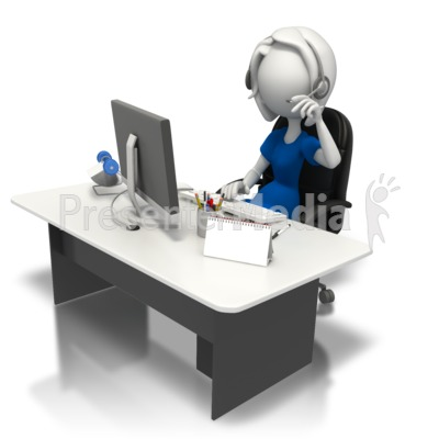 Secretary Working At Desk Presentation clipart