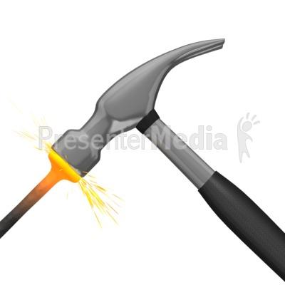 Hammer Hitting Nail Presentation clipart