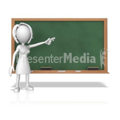 Woman At Chalk Board Presentation clipart