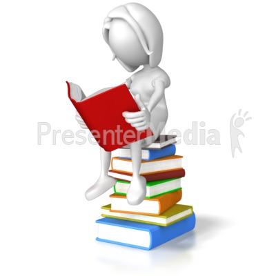 Woman Sitting On Books Presentation clipart