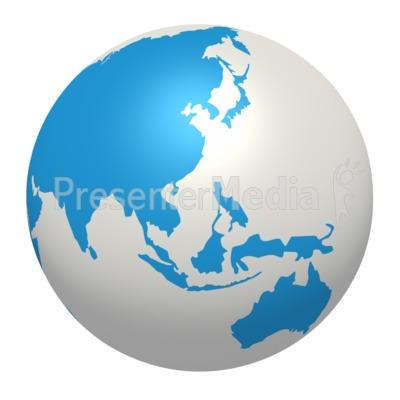 Blue White Earth Asia Pacific Region Presentation clipart