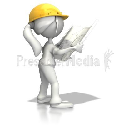 Woman Reading Blueprints Presentation clipart