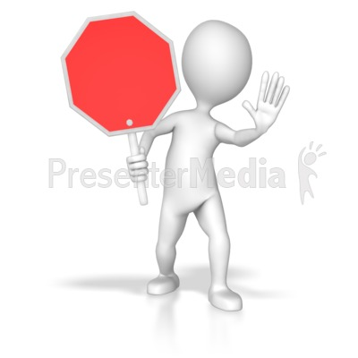 Stick Figure Holding Stop Sign PowerPoint Clip Art