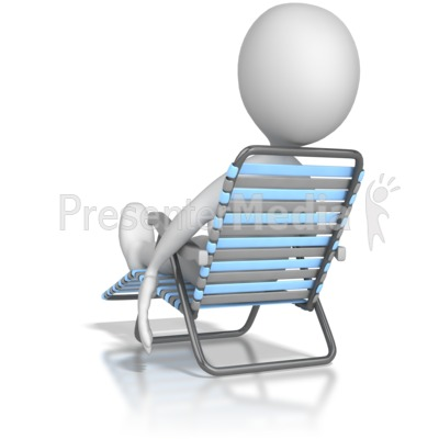 Stick Figure Lounging In a Lawn Chair Presentation clipart