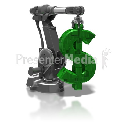 Robot Arm Holding Dollar Symbol Presentation clipart