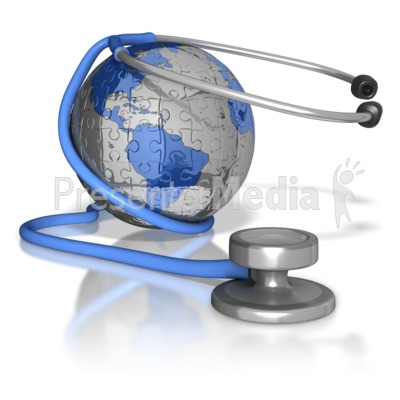 Stethoscope Around Puzzle Earth Presentation clipart