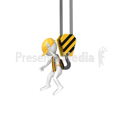 Stick Figure Grabbed By Hook Presentation clipart