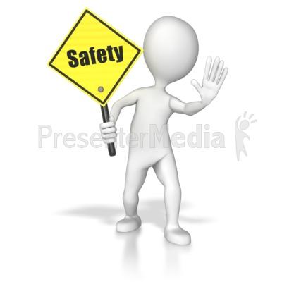 Stick Figure Holding A Saftey Sign Presentation clipart