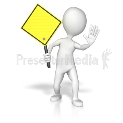 Stick Figure Holding A Yellow Sign Presentation clipart