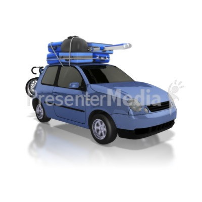 Car Carrying Luggage on Road Trip Presentation clipart