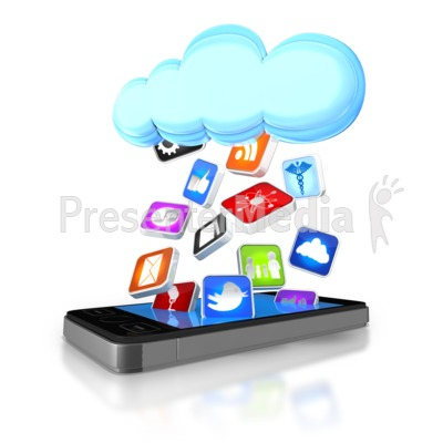 Apps Falling From Cloud Into Smart Phone Presentation clipart