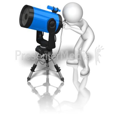 Stick Figure Blue Telescope Presentation clipart